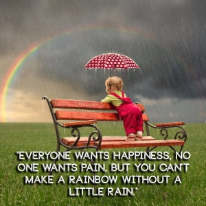 Everyone wants happiness, no one wants pain, but you can't make a rainbow without a little rain.